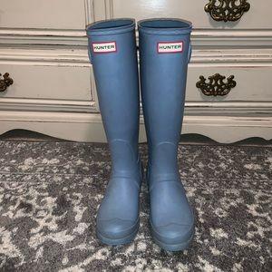 Baby blue hunter rain boots